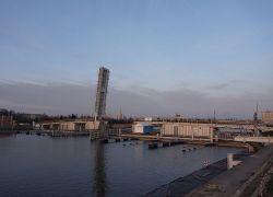 Próba mostu zwodzonego między Łasztownią a Wyspą Grodzką w Szczecinie